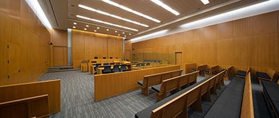 Courtroom representing criminal defense lawyer